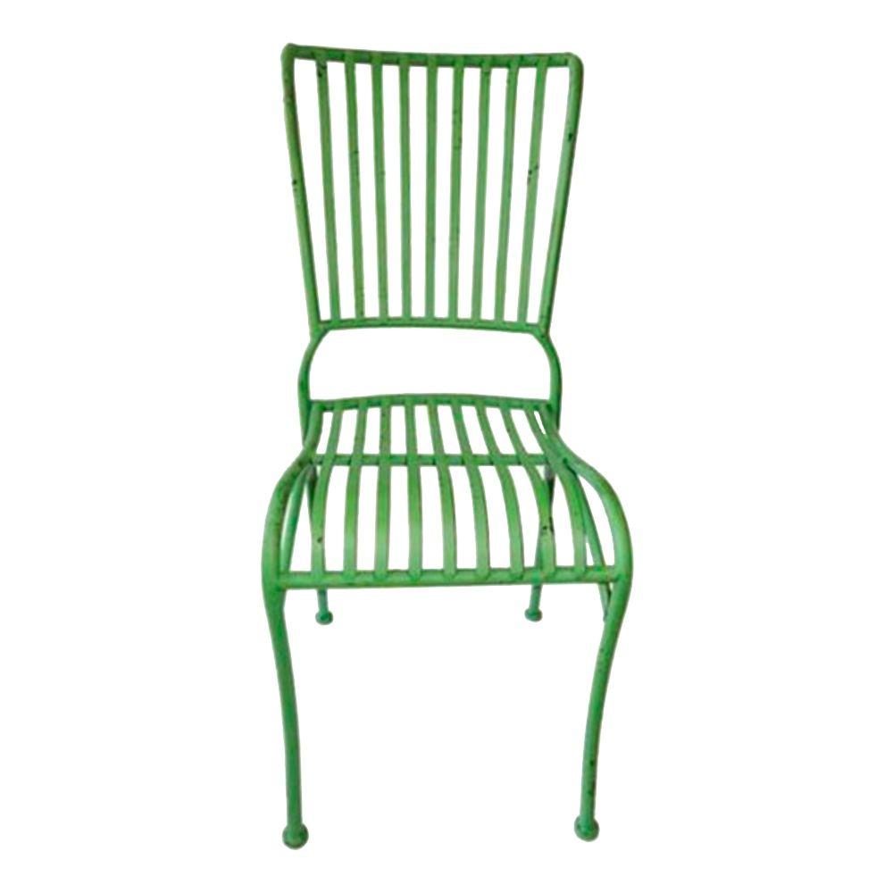 Cadeira Filetes Verde com Leve Desgastado Chic e Estrutura Vazada em Ferro - 90x40 cm