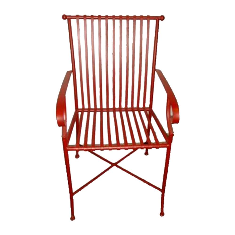 Cadeira Filetes Vermelha c/ Efeito Desgastado Chic e Apoio para Braço Estrutura Vazada em Ferro - 66x50 cm