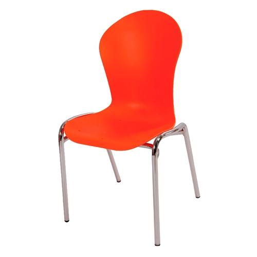 Cadeira Flash Laranja em Polipropileno e Base em Aço Cromado - 86x48 cm