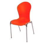 Cadeira Flash Laranja em Polipropileno e Base em Aço Cromado
