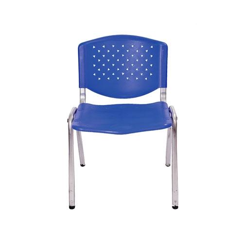 Cadeira Flex Azul em Polipropileno e Base em Aço Cromado - 76x56 cm