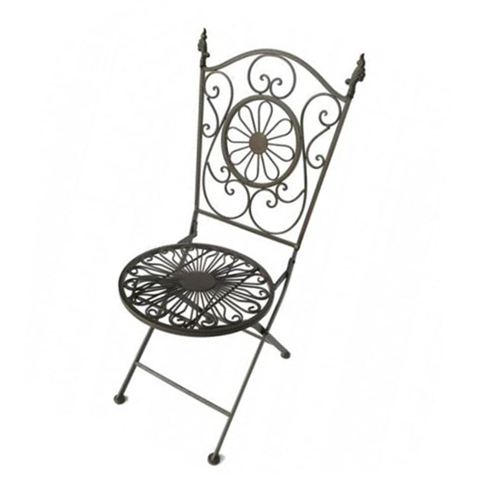Cadeira Flor e Arabescos Marrom com Estrutura Vazada em Ferro - 96x45 cm