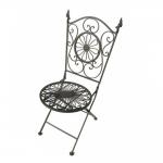 Cadeira Flor e Arabescos Marrom c/ Estrutura Vazada em Ferro