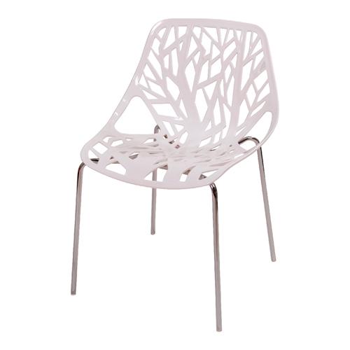 Cadeira Flower Branca em Polipropileno e Base em Aço Cromado - 79,5x53 cm