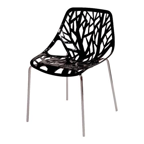 Cadeira Flower Preta em Polipropileno e Base em Aço Cromado - 79,5x53 cm