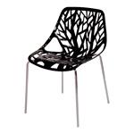 Cadeira Flower Preta em Polipropileno e Base em Aço Cromado
