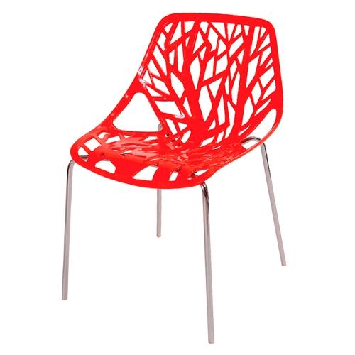 Cadeira Flower Vermelha em Polipropileno e Base em Aço Cromado - 79,5x53 cm