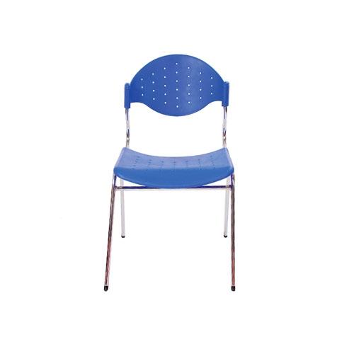 Cadeira Fun Azul em Polipropileno e Base em Aço Cromado - 78x54 cm