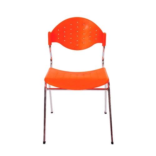 Cadeira Fun Laranja em Polipropileno e Base em Aço Cromado - 78x54 cm