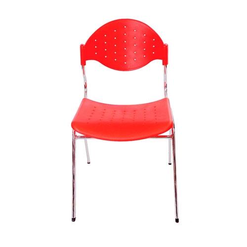 Cadeira Fun Vermelha em Polipropileno e Base em Aço Cromado - 78x54 cm
