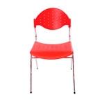 Cadeira Fun Vermelha em Polipropileno e Base em Aço Cromado