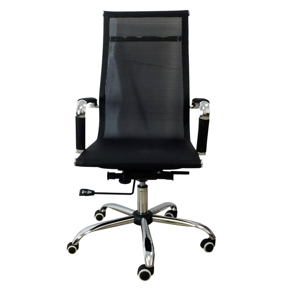 Cadeira Giratória Presidente Design Preta com Revestimento em Tela Mesh - 98x48 cm