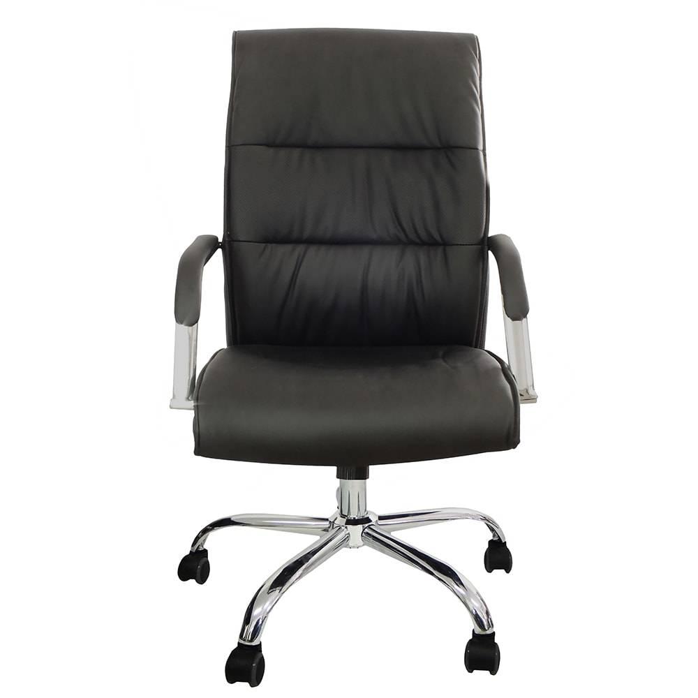 Cadeira Giratória Presidente Gold com Revestimento em Couro Sintético Preto - 100x52 cm