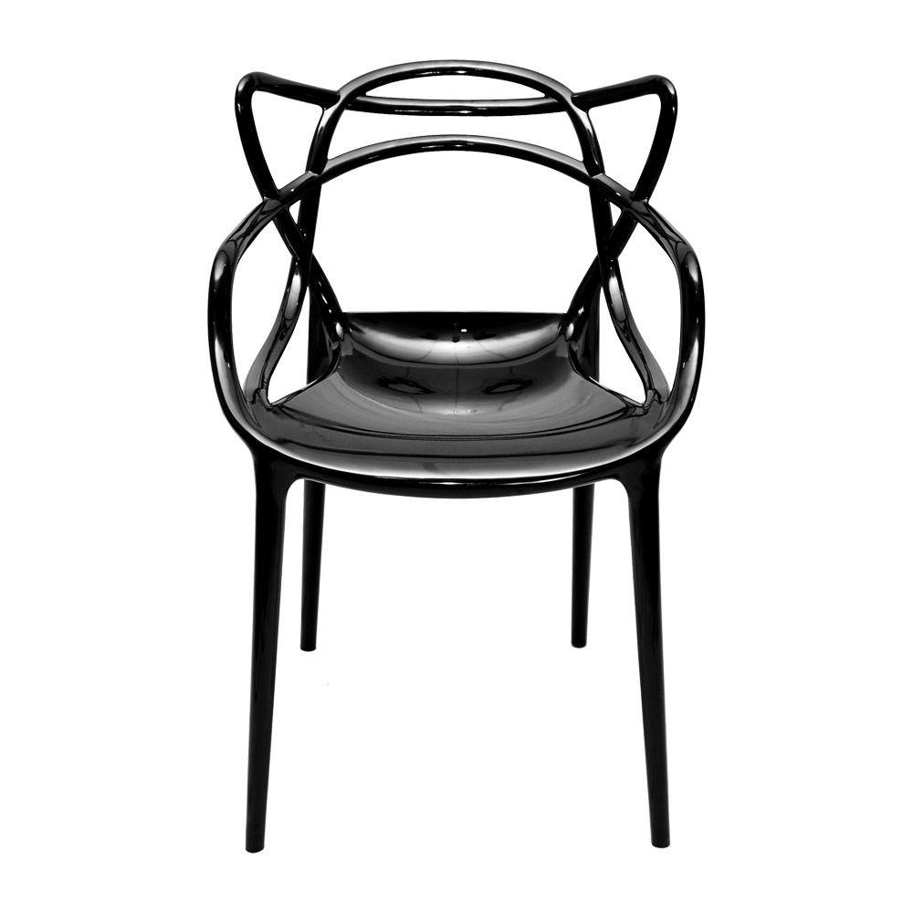 Cadeira Greec Preta em Policarbonato - 82x53 cm