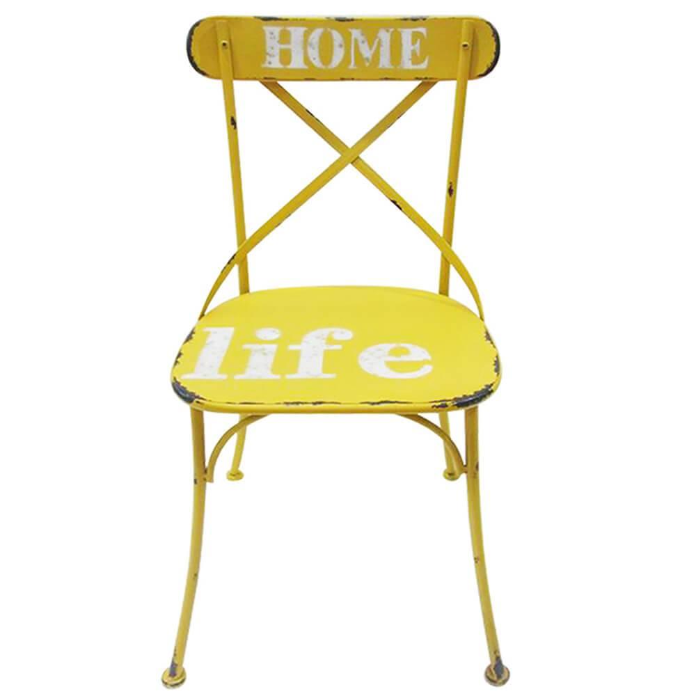 Cadeira Home Life Amarelo Pátina em Ferro - Urban - 87,5x46 cm