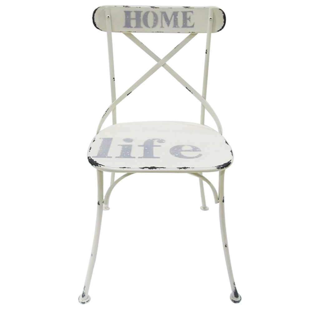 Cadeira Home Life Creme Pátina em Ferro - Urban - 87,5x46 cm