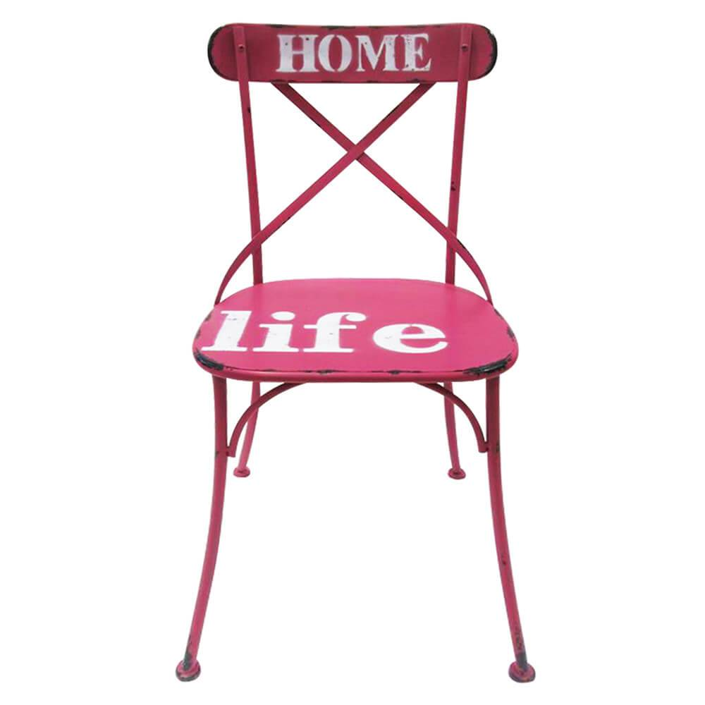Cadeira Home Life Rosa Pátina em Ferro - Urban - 87,5x46 cm
