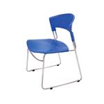 Cadeira India Azul em Polipropileno e Base em Aço Cromado