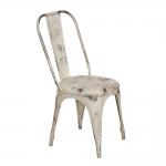 Cadeira Industrial Areal Branco Pátina em Ferro - 94x49 cm