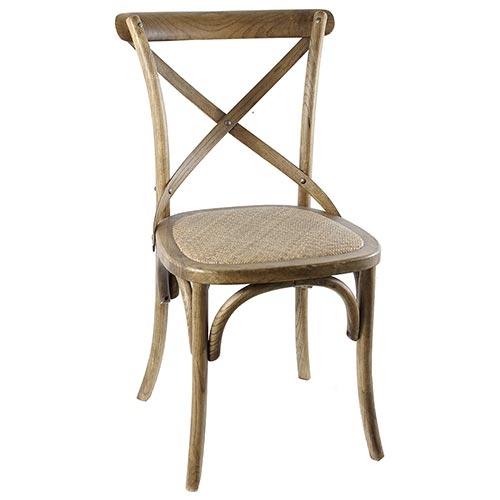 Cadeira Jantar Vintage em Rattan Oldway - Carvalho - 90x55 cm