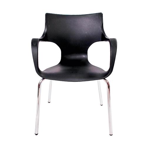 Cadeira Jim Preta em Polipropileno c/ Base em Aço Cromado - 77x56 cm