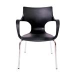 Cadeira Jim Preta em Polipropileno c/ Base em Aço Cromado
