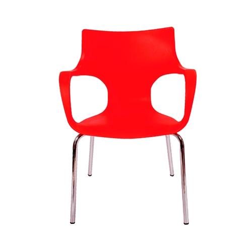 Cadeira Jim Vermelha em Polipropileno c/ Base em Aço Cromado - 77x56 cm