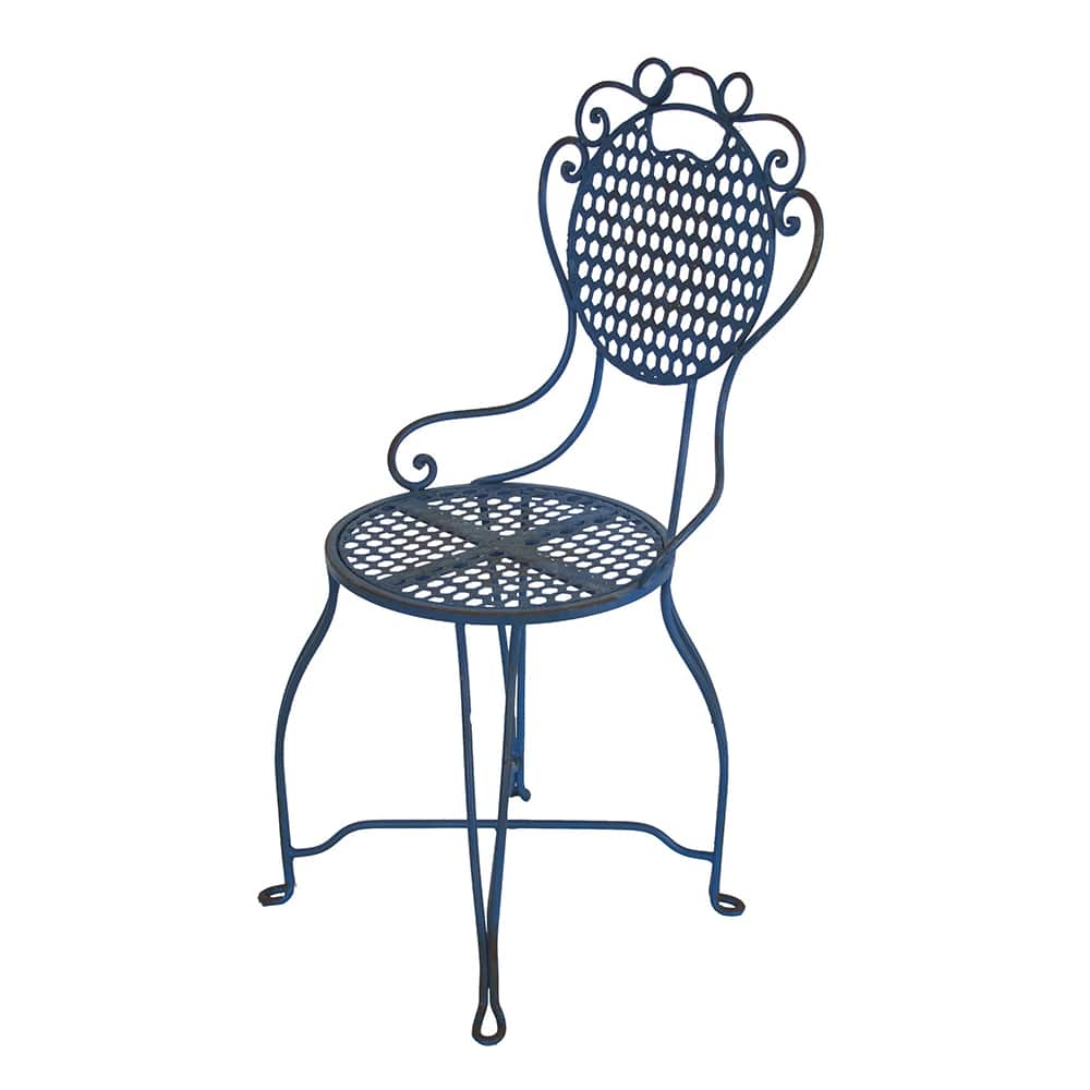 Cadeira Kimberly Azul Pátina em Ferro - 92x48 cm
