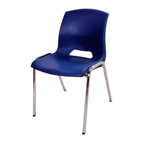 Cadeira Malba Azul em Polipropileno e Base em Aço Cromado - 78x55 cm
