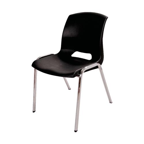Cadeira Malba Preta em Polipropileno e Base em Aço Cromado - 78x55 cm