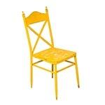Cadeira de Metal Amarela Vintage Oldway - 92x52 cm