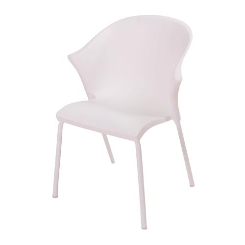 Cadeira Nacka Branca em Polipropileno e Base em Aço Cromado - 78x58 cm