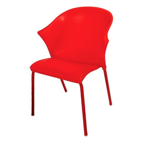 Cadeira Nacka Vermelha em Polipropileno e Base em Aço Cromado - 78x58 cm