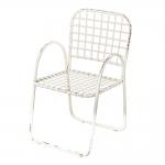 Cadeira Nelory Branco Pátina em Ferro - 90x56 cm