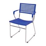 Cadeira New Azul em Polipropileno e Base em Aço Cromado