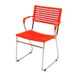 Cadeira New Laranja em Polipropileno e Base em Aço Cromado