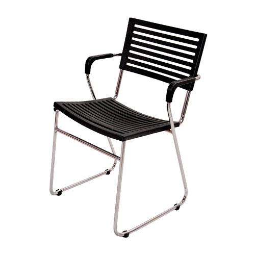 Cadeira New Preta em Polipropileno e Base em Aço Cromado - 78x53 cm