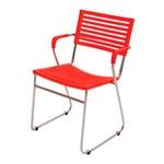 Cadeira New Vermelha em Polipropileno e Base em Aço Cromado