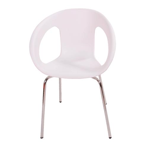 Cadeira One Branca em Polipropileno e Base em Aço Cromado - 77x56 cm