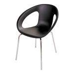 Cadeira One Preta em Polipropileno e Base em Aço Cromado