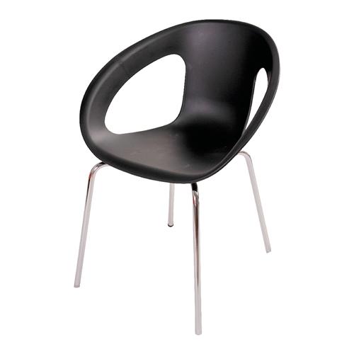 Cadeira One Preta em Polipropileno e Base em Aço Cromado - 77x56 cm