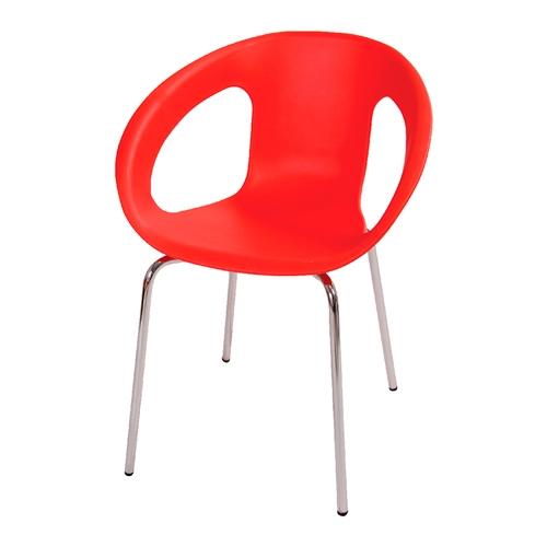 Cadeira One Vermelha em Polipropileno e Base em Aço Cromado - 77x56 cm