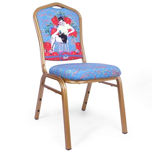 Cadeira Pin Up Azul em Alumínio e Tecido - 92x48 cm