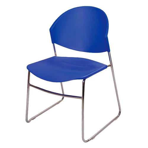 Cadeira Polly Azul em Polipropileno e Base em Aço Cromado - 76x52 cm
