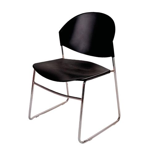Cadeira Polly Preta em Polipropileno e Base em Aço Cromado - 76x52 cm