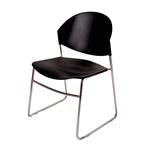 Cadeira Polly Preta em Polipropileno e Base em Aço Cromado