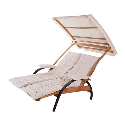 Cadeira de Praia 2 Lugares Summer Madeira/Algodão - 180x120 cm