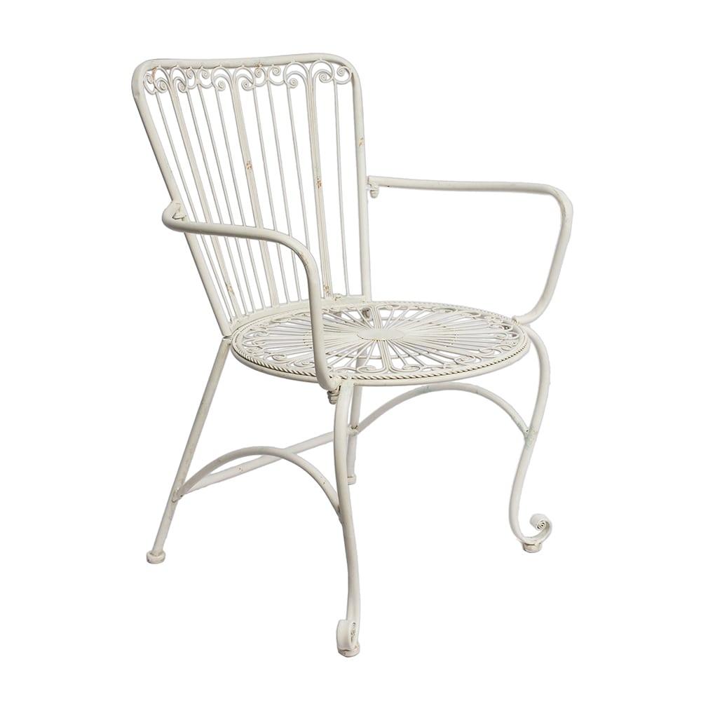 Cadeira Provençal Bellise Branca com Apoio para Braço em Ferro - 87x68 cm