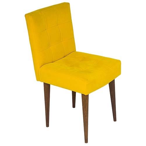 Cadeira Quadrada Amarela Suede - Pé Palito Fullway - 80x44 cm