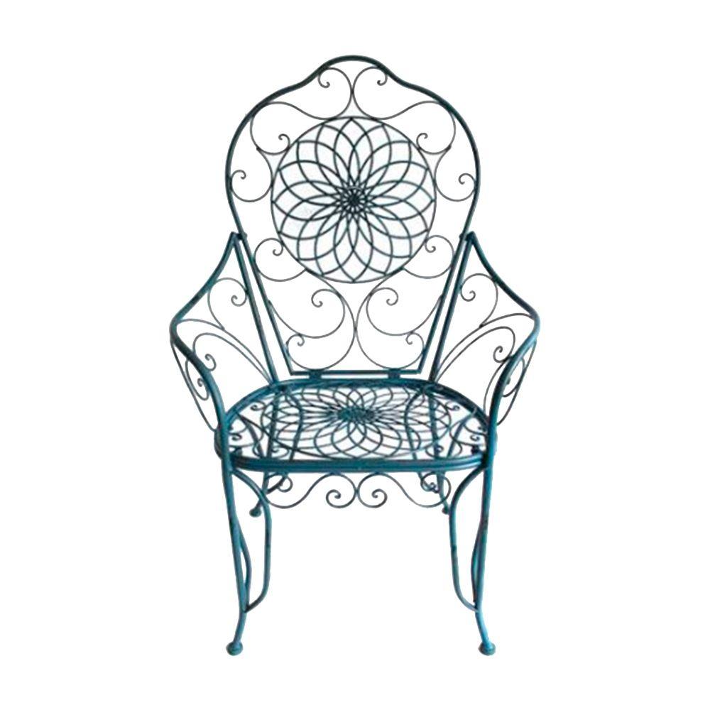 Cadeira Real Detalhada em Arabescos e Flores Azul c/ Estrutura Vazada em Ferro - 115x81 cm